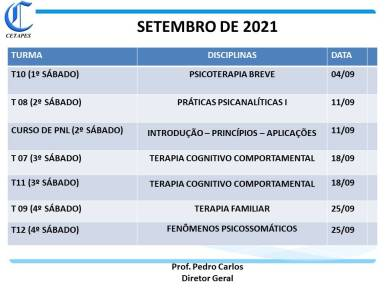 CRONOGRAMA SETEMBRO - 21